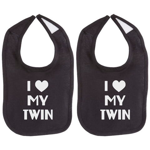 I Love My Twin Unisex Newborn Baby Soft 100% Cotton Bib Set