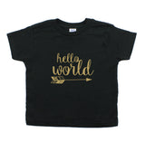 Glitter Gold Hello World Toddler Short Sleeve T-Shirt