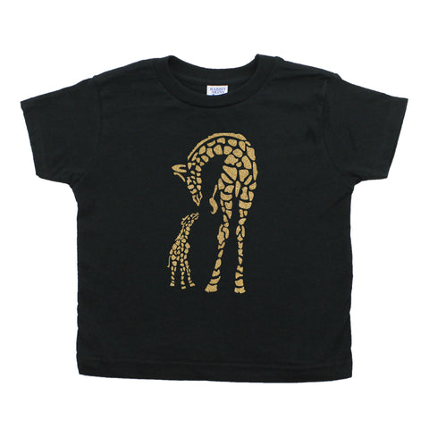 Baby Giraffe and Mommy Toddler Short Sleeve T-Shirt
