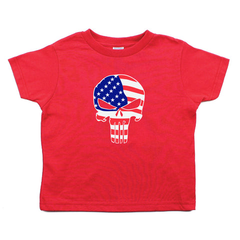 American Flag Punisher Skull Toddler Short Sleeve T-Shirt