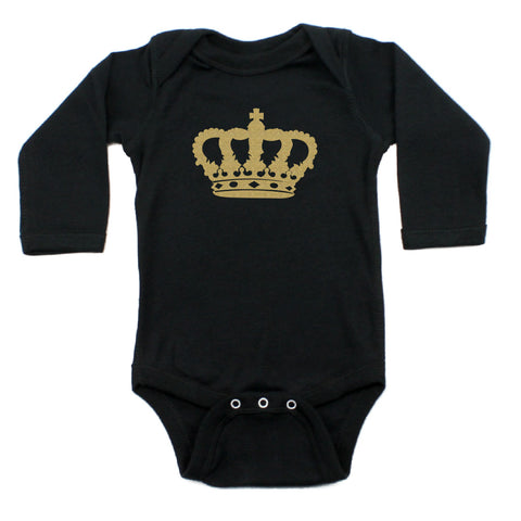 Gold Glitter Crown for a Queen Long Sleeve Baby Infant Bodysuit