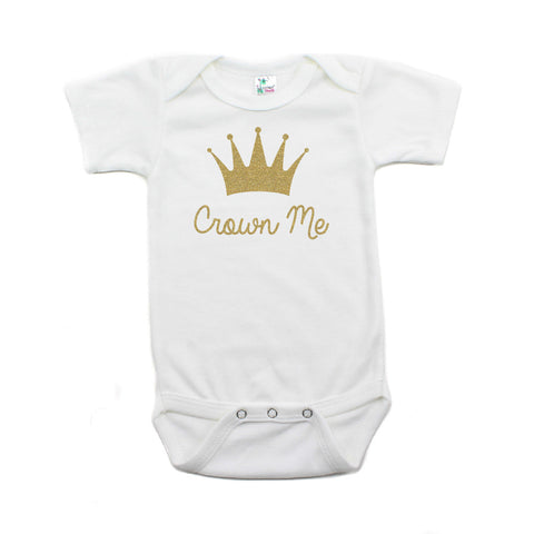Gold Glitter Sparkly Crown Me Short Sleeve Baby Infant Bodysuit