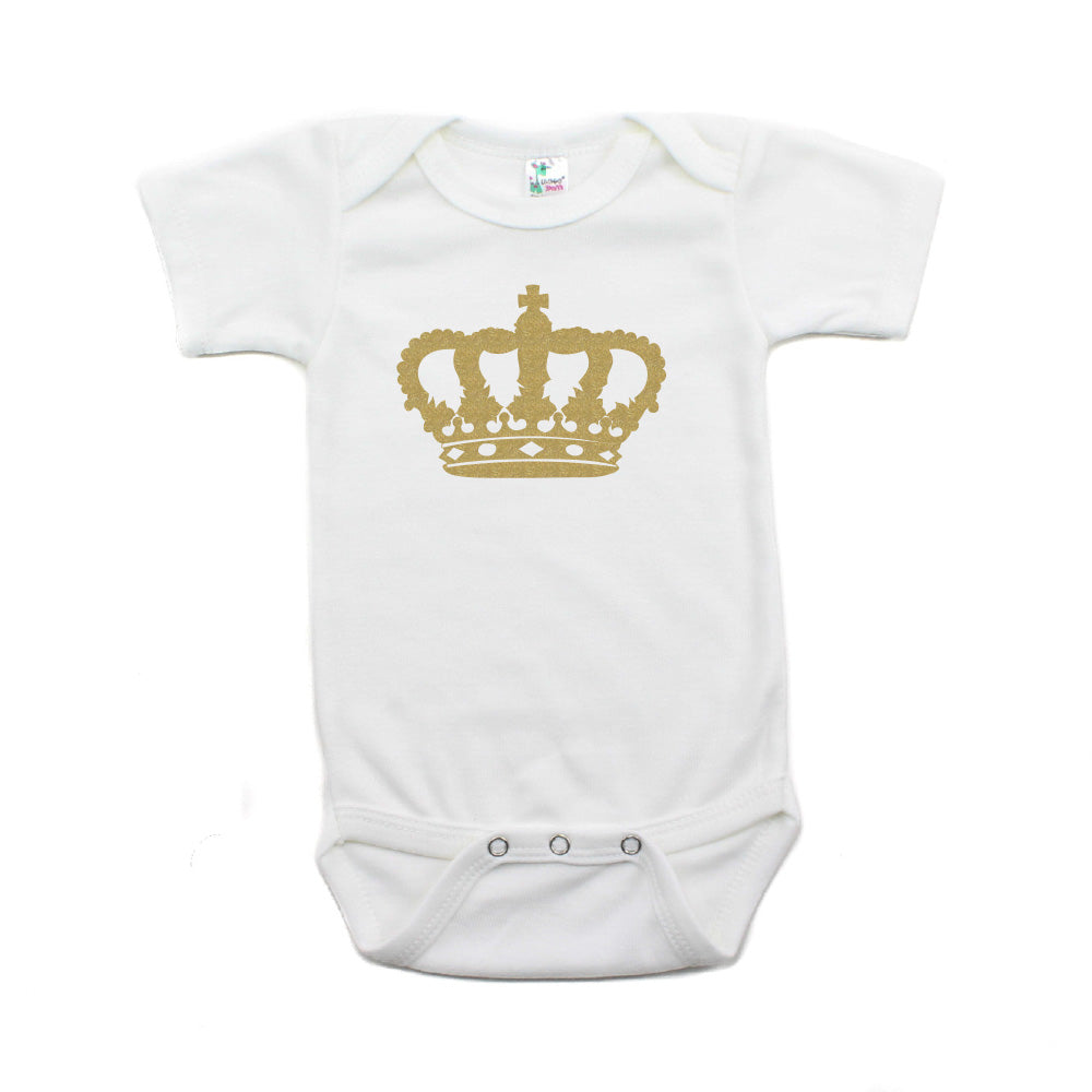 Gold Glitter Crown for a Queen Short Sleeve Baby Infant Bodysuit