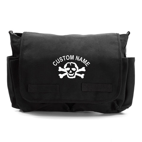 Custom [Add Your Name] Heavyweight Canvas Messenger / Diaper Shoulder Bag Scribble Skull