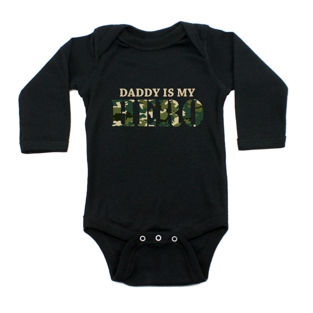 Military Daddy Is My Hero Long Sleeve Infant Baby Bodysuit