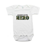 Military Daddy Is My Hero Short Sleeve Infant Baby Bodysuit with Camo Accent