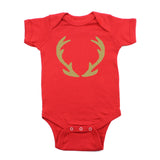Christmas Solid Deer Antlers Short Sleeve Infant Bodysuit