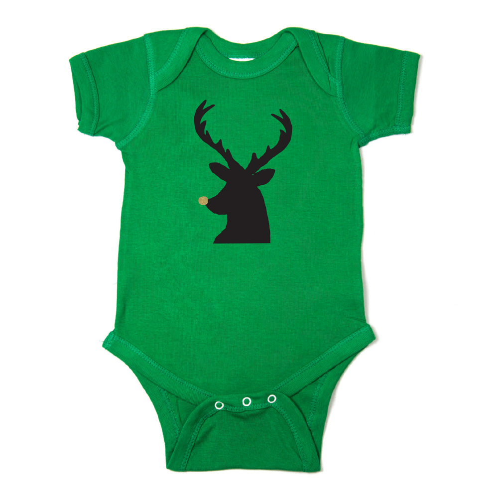 Christmas Black Reindeer w/ Glitter Nose Short Sleeve Infant Bodysuit