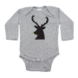 Christmas Black Reindeer w/ Glitter Nose Long Sleeve Infant Bodysuit