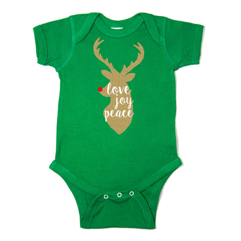 Christmas Love Joy Peace Glitter Reindeer Short Sleeve Infant Bodysuit