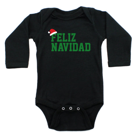 Christmas Feliz Navidad Santa Hat Long Sleeve Infant Bodysuit