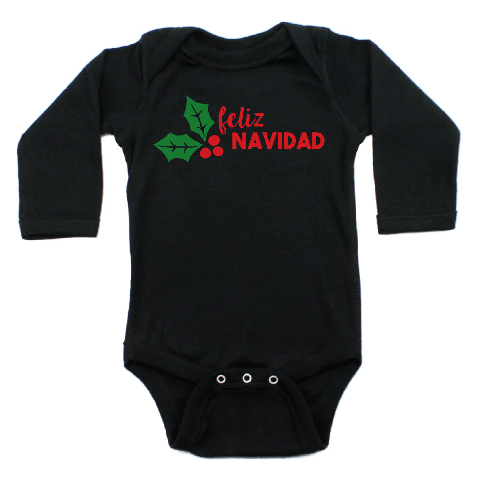 Christmas Feliz Navidad Mistletoe Long Sleeve Infant Bodysuit