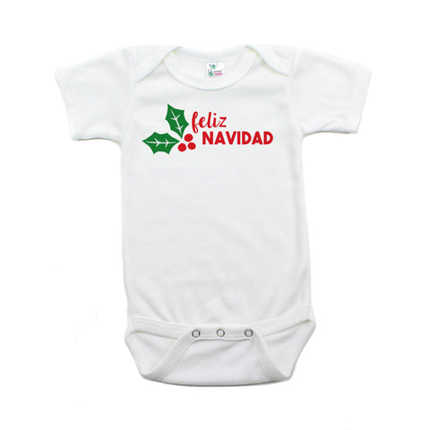 Christmas Feliz Navidad Mistletoe Short Sleeve Infant Bodysuit