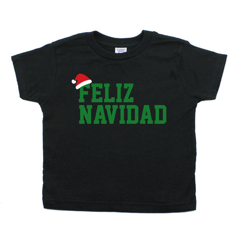 Christmas Feliz Navidad Santa Hat Short Sleeve Toddler T-Shirt