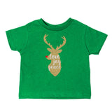 Christmas Joy Love Peace Glitter Reindeer Toddler Short Sleeve T-Shirts
