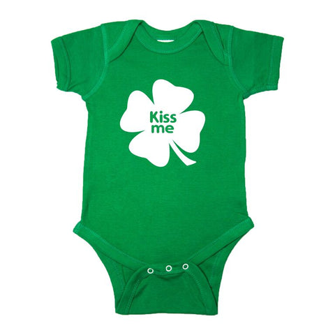 St. Patrick's Day Kiss Me Clover Short Sleeve Baby Infant Bodysuit