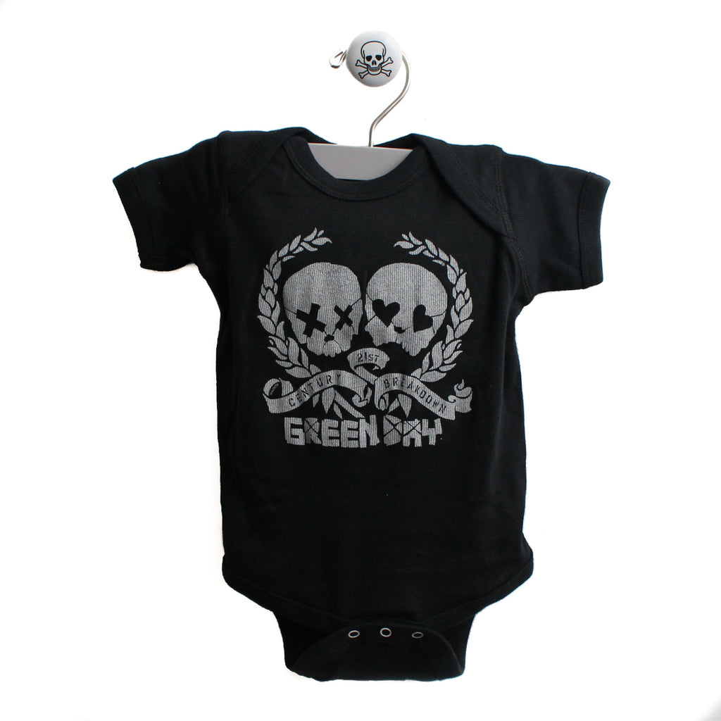 Green Day Skulls Baby Bodysuit, 6 Months