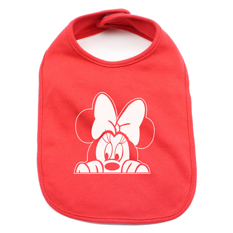 Minnie Mouse with Bow Peeking 100% Cotton Unisex Baby Bib