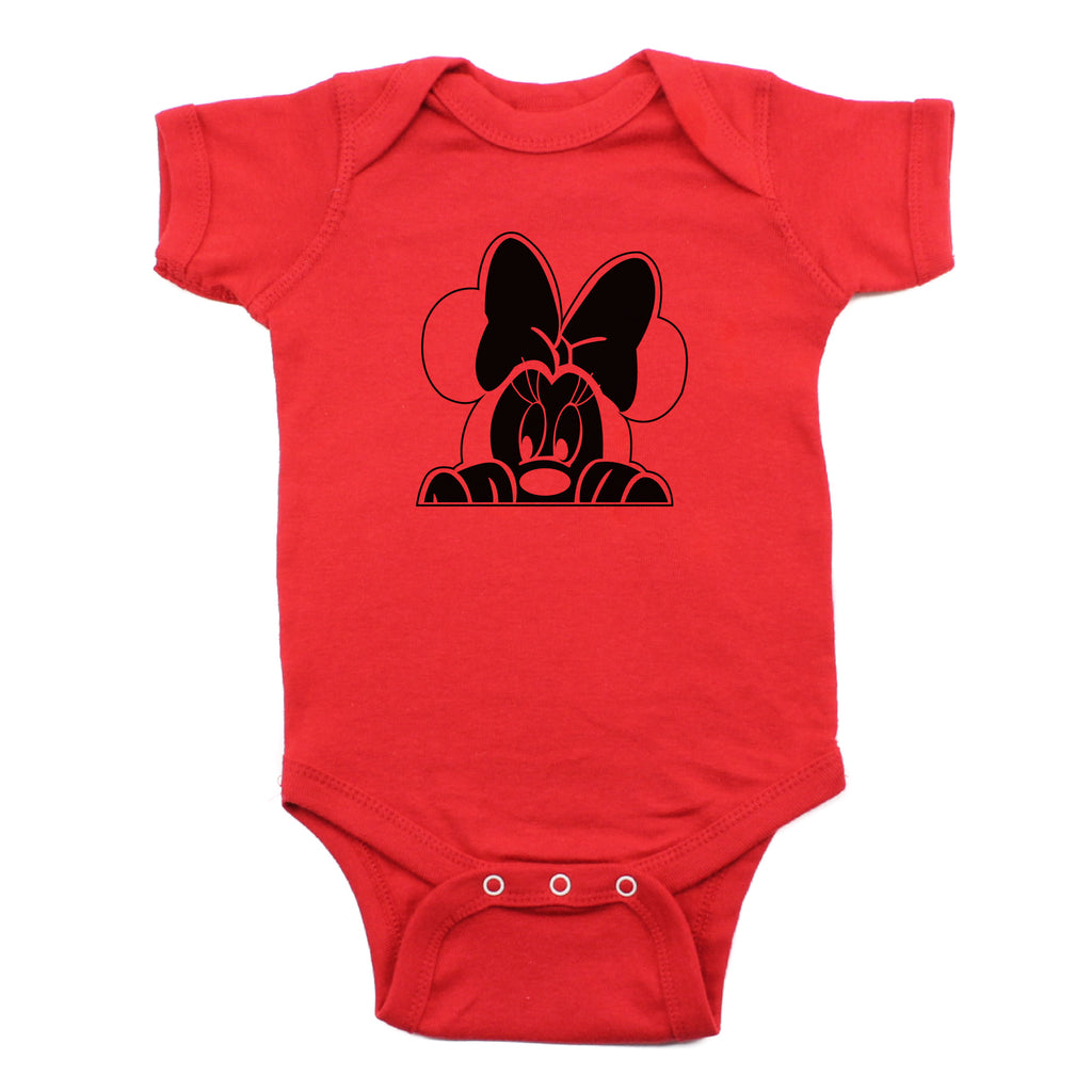 Minnie Mouse with Bow Peeking Short Sleeve 100% Cotton Bodysuit