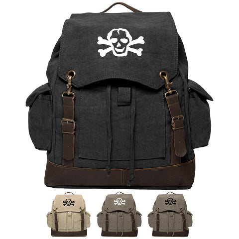 Scribble Skull Vintage Canvas Rucksack Backpack with Leather Straps