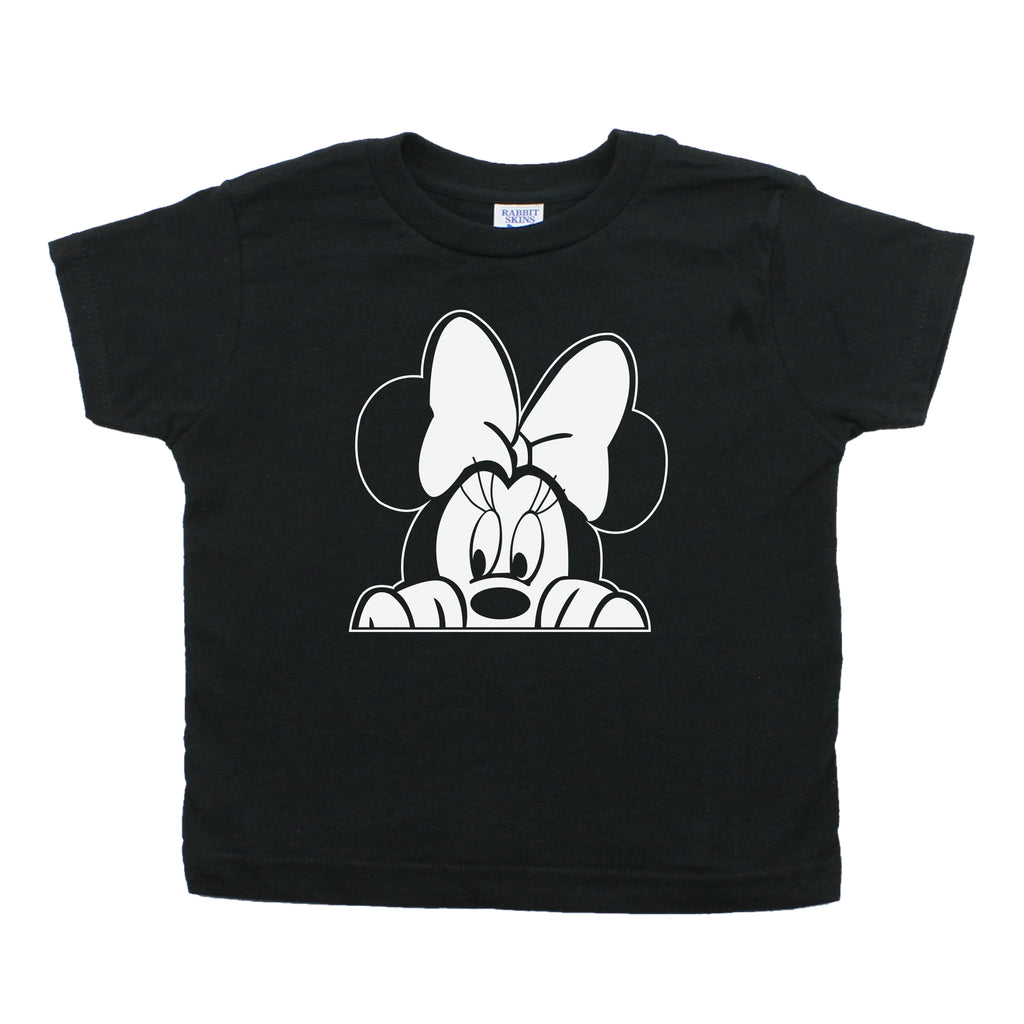 Minnie Mouse with Bow Peeking Toddler Short Sleeve Cotton T-Shirt