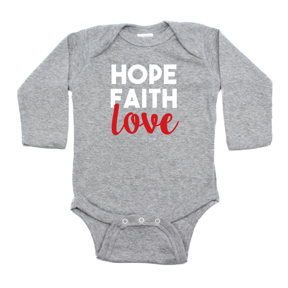 Christmas Hope Faith Love Words Long Sleeve Infant Bodysuit