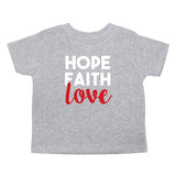 Christmas Hope Faith Love Words Toddler Short Sleeve T-Shirts