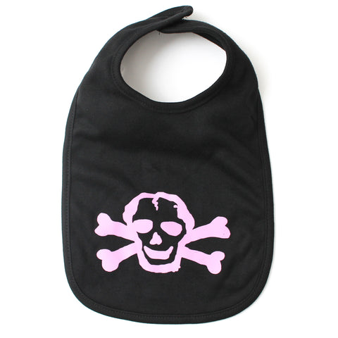 Pink Scribble Skull Newborn Baby Soft Cotton Bib