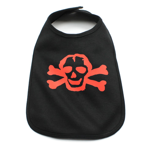 Red Scribble Skull Unisex Newborn Baby Soft Cotton Bib