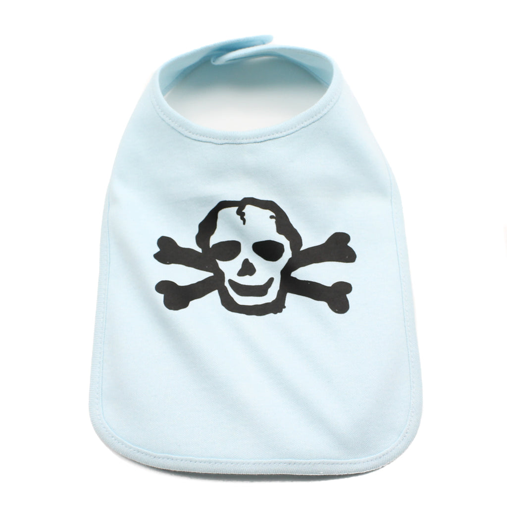 Black Scribble Skull Unisex Newborn Baby Soft Cotton Bib
