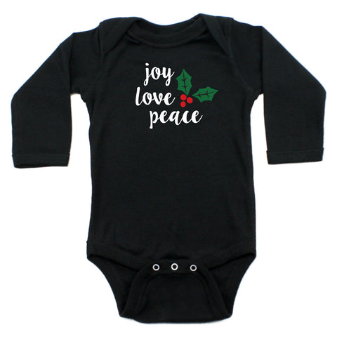 Christmas Joy Love Peace Mistletoe Long Sleeve Infant Bodysuit