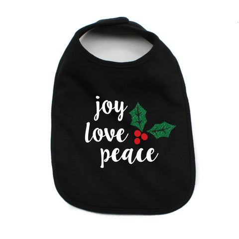Christmas Joy Love Peace Mistletoe Soft Cotton Infant Bib