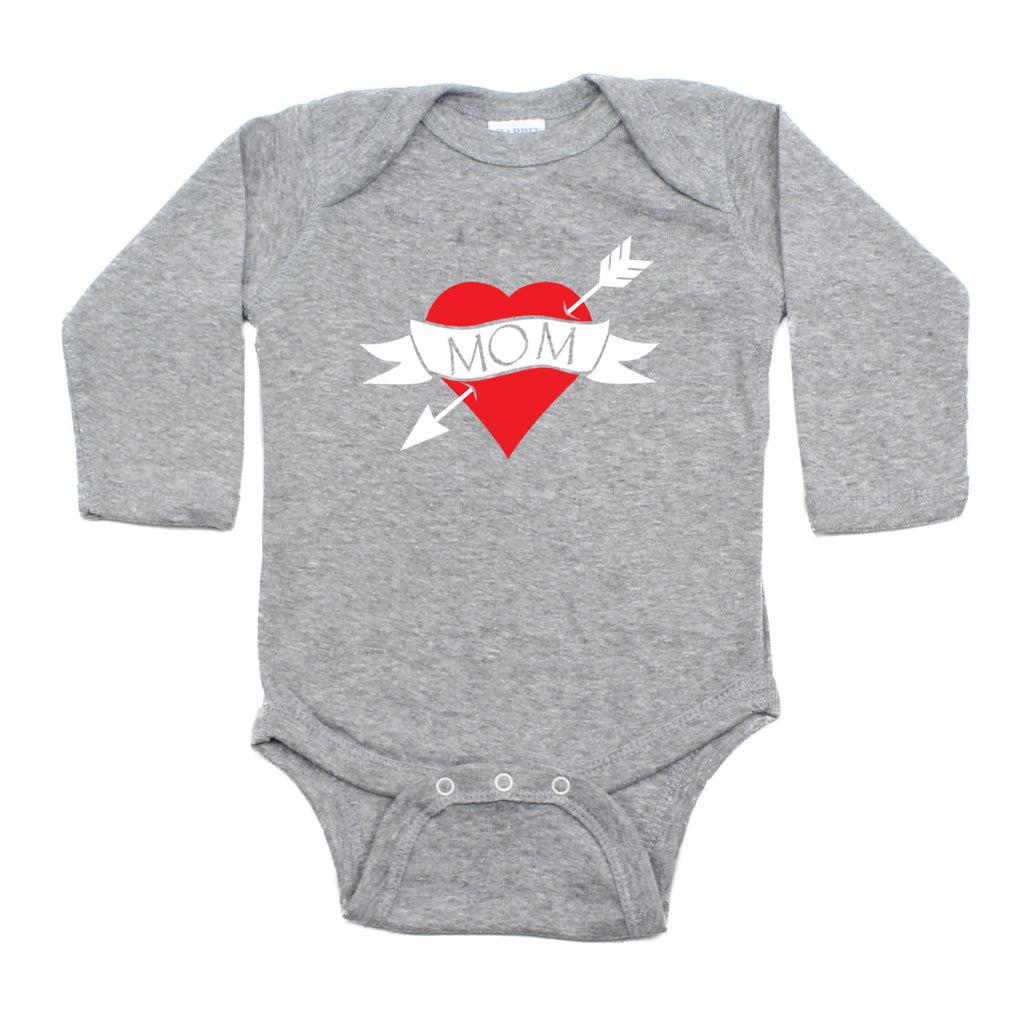 Mother's Day I Love Mom Heart Tattoo Long Sleeve Baby Infant Bodysuit
