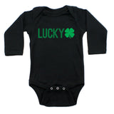 St. Patrick's Day Lucky with Shamrock Long Sleeve Baby Infant Bodysuit
