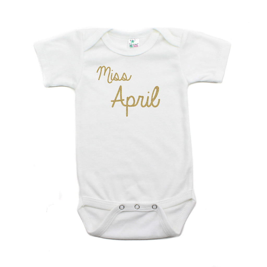 Miss April Glitter Short Sleeve Infant Bodysuit