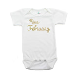 Miss February Glitter Short Sleeve Infant Bodysuit