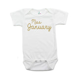 Miss January Glitter Short Sleeve Infant Bodysuit