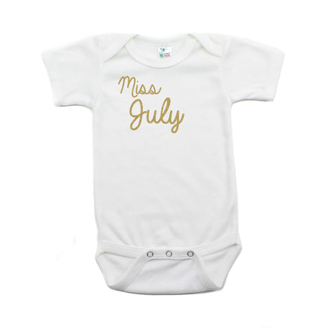 Miss July Glitter Short Sleeve Infant Bodysuit