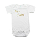 Miss June Glitter Short Sleeve Infant Bodysuit