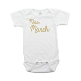 Miss March Glitter Short Sleeve Infant Bodysuit