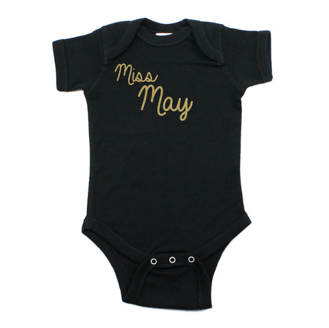Miss May Glitter Short Sleeve Infant Bodysuit