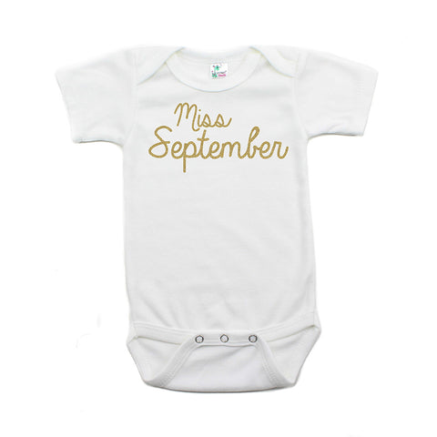 Miss September Glitter Short Sleeve Infant Bodysuit