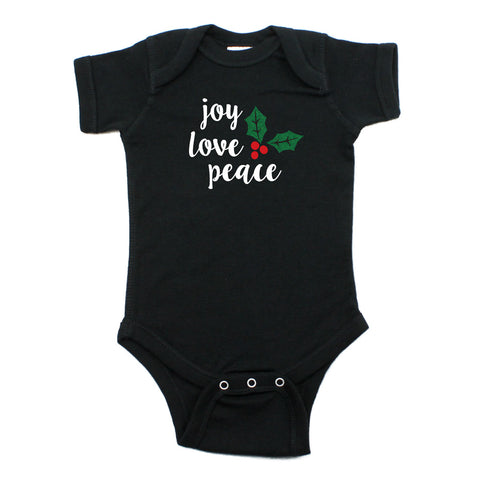 Christmas Joy Love Peace Mistletoe Short Sleeve Infant Bodysuit