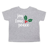 Christmas Joy Love Peace Mistletoe Toddler Short Sleeve T-Shirts