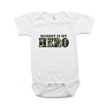 Military Mommy Is My Hero Short Sleeve Infant Baby Bodysuit with Camo Accent