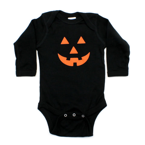 Halloween Pumpkin Face Long Sleeve Baby Infant Bodysuit