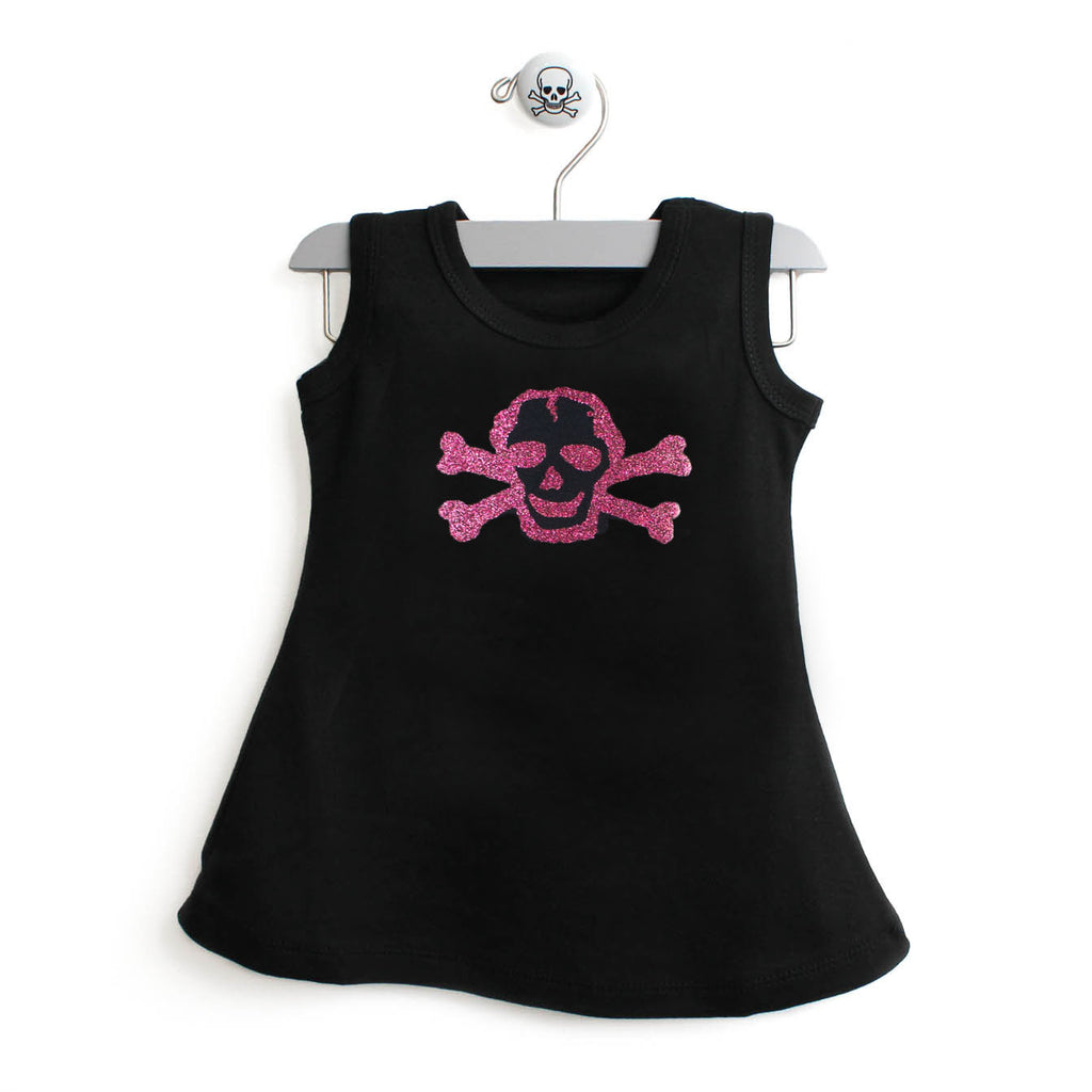 Shiny Pink Glitter Scribble Skull A-Line Dress For Baby Girls