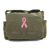 Breast Cancer Awareness Vintage Army Canvas Messenger Bag Pink Ribbon