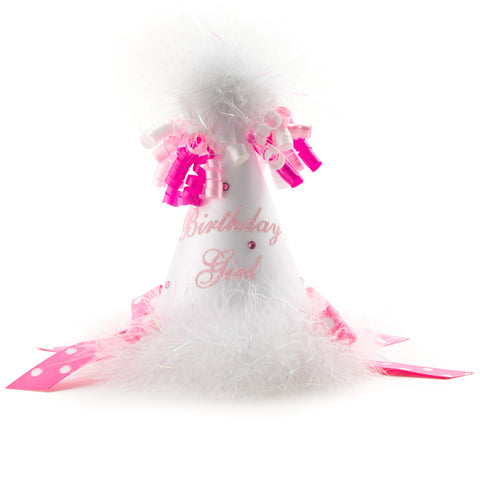 White with Pink Polka dot Birthday Girl Party Hat
