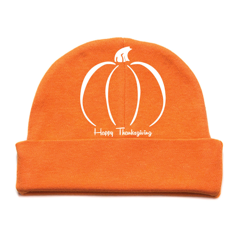 Thanksgiving Pumpkin Infant Baby 100% Cotton Knit Beanie Cap Hat